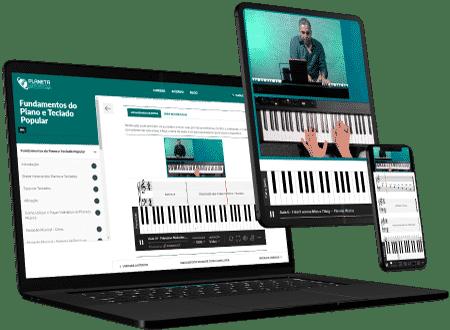 Videoaulas de piano e teclado para computador e celular