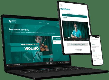 Curso de violino online no computador ou celular